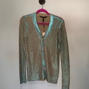 BCBGMaxAzria tan cardigan with metallic teal XS